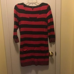 Express pink and gray striped sweater dress